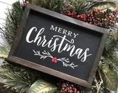 Merry Christmas Black Farmhouse Style Wooden Sign