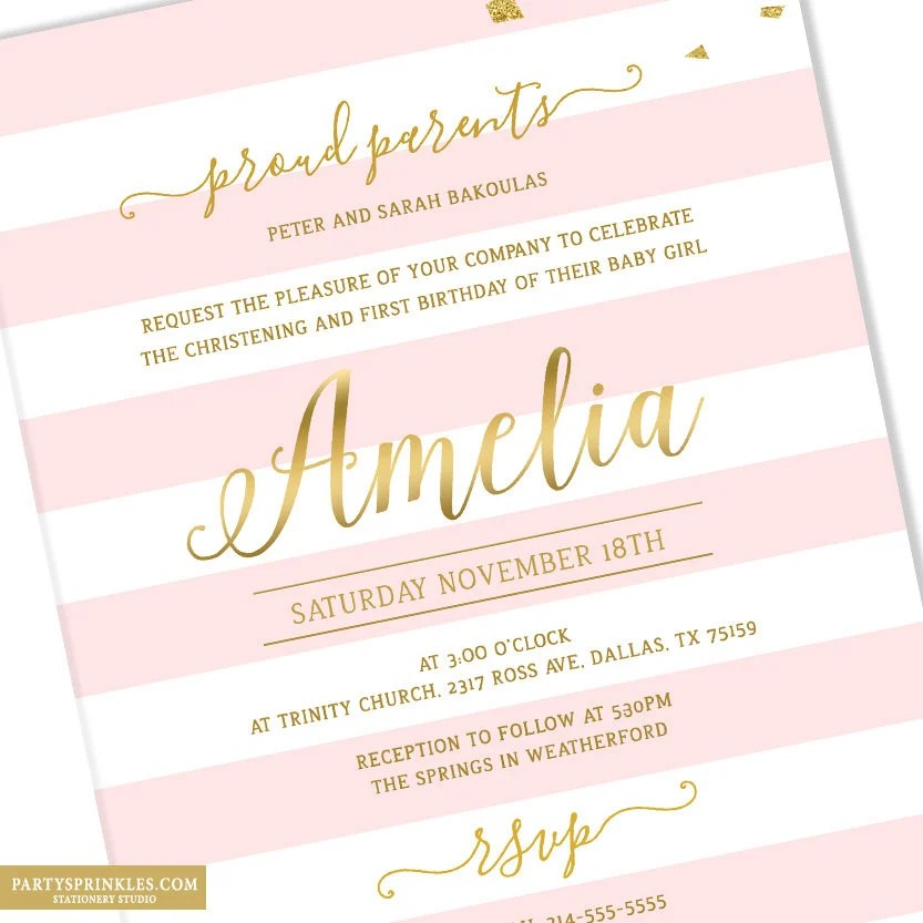 gold and pink stripes birthday and