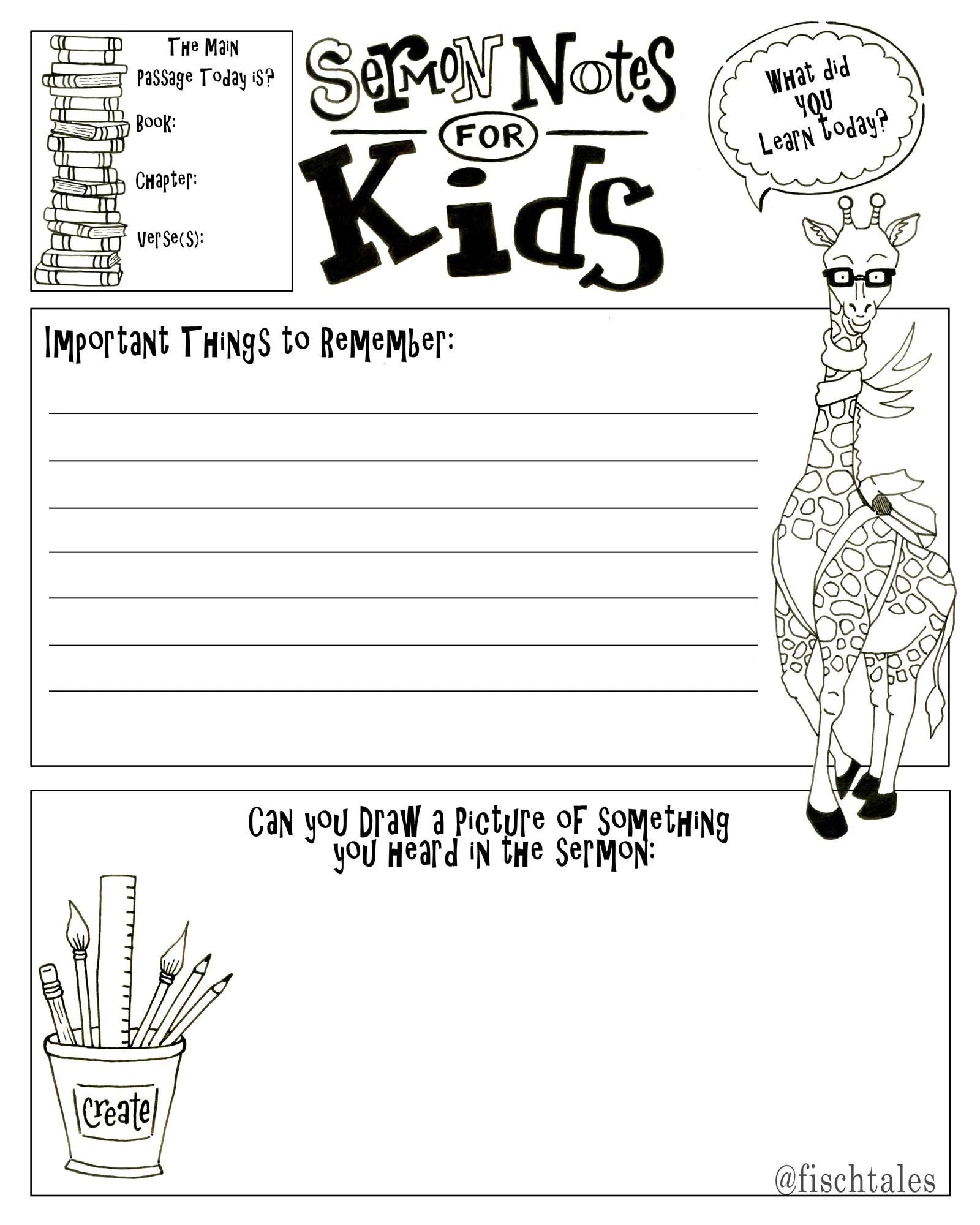 Kids Sermon Notes Drawing Page Bible Journaling