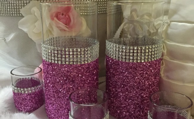 Wedding Centerpiece Pink Glitter Vase 2 Vases And 3 Etsy