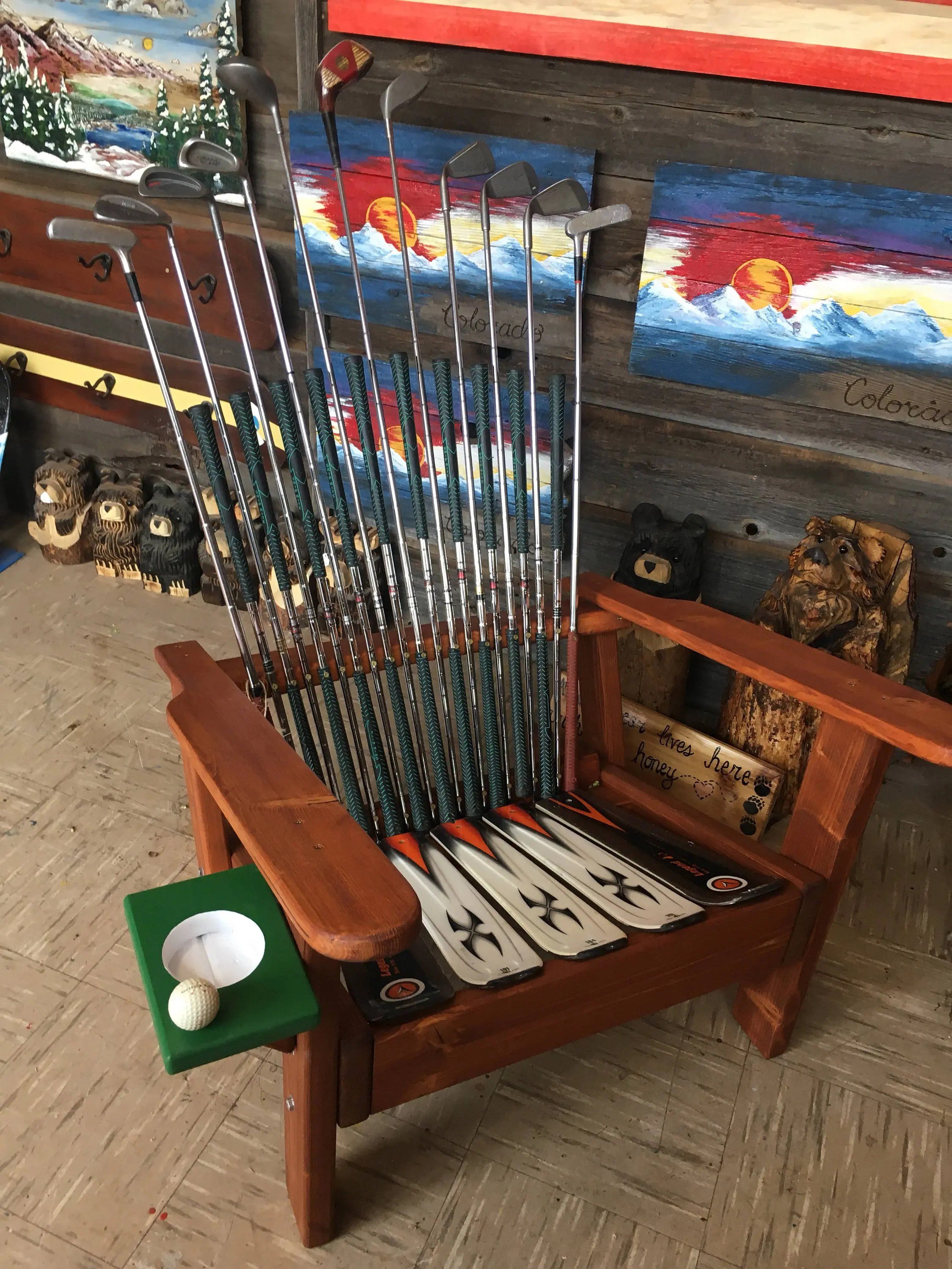 Deluxe Adirondack Golf Club Chairs With Cupholder