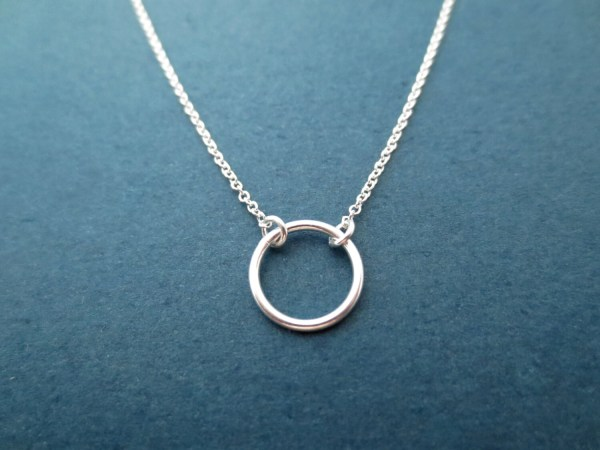 Modern Sterling Silver Karma Ring Necklace 10mm