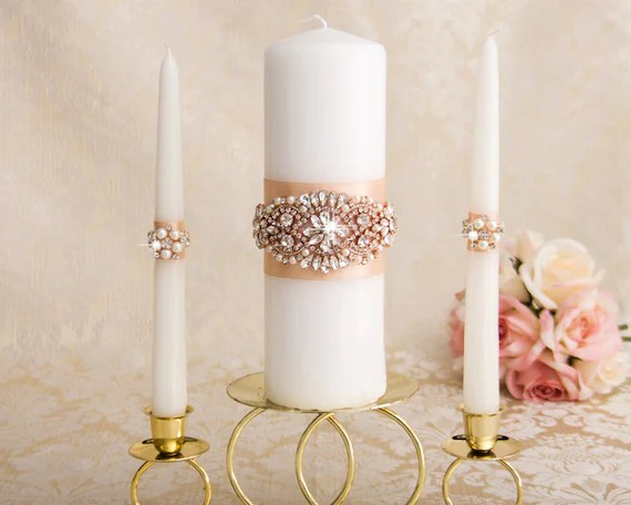 Rose Gold Unity Candle Set Rose Gold Wedding Candle Unity
