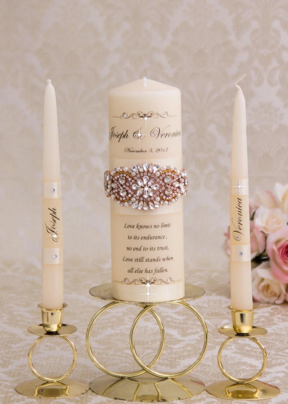 Rose Gold Unity Candle Set Rose Gold Wedding Unity Candles