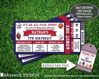 sports ticket invite etsy