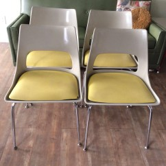 Krueger Folding Chairs Red Living Room Chair Etsy Set Of Four Yellow Cushion Retro Fiberglass Made By Metal Products