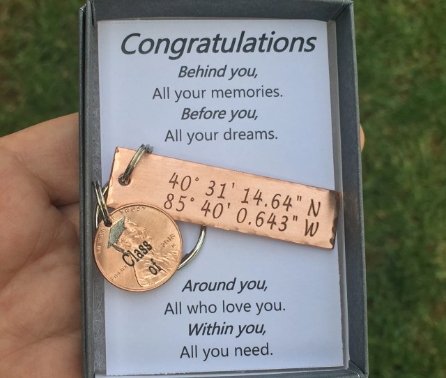 Graduation Gifts For Him Graduation Gifts Graduation Keychain Gps Keychain College Graduation Lucky Penny Graduation Gift Best Friend