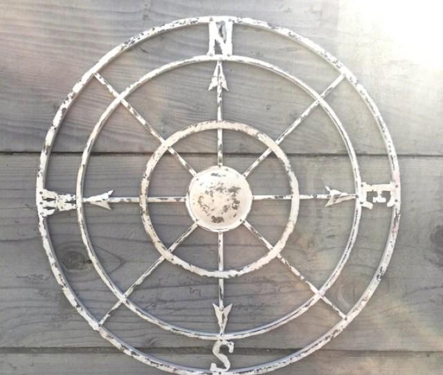 Compass Compass Wall Art Nautical Decor Metal Etsy