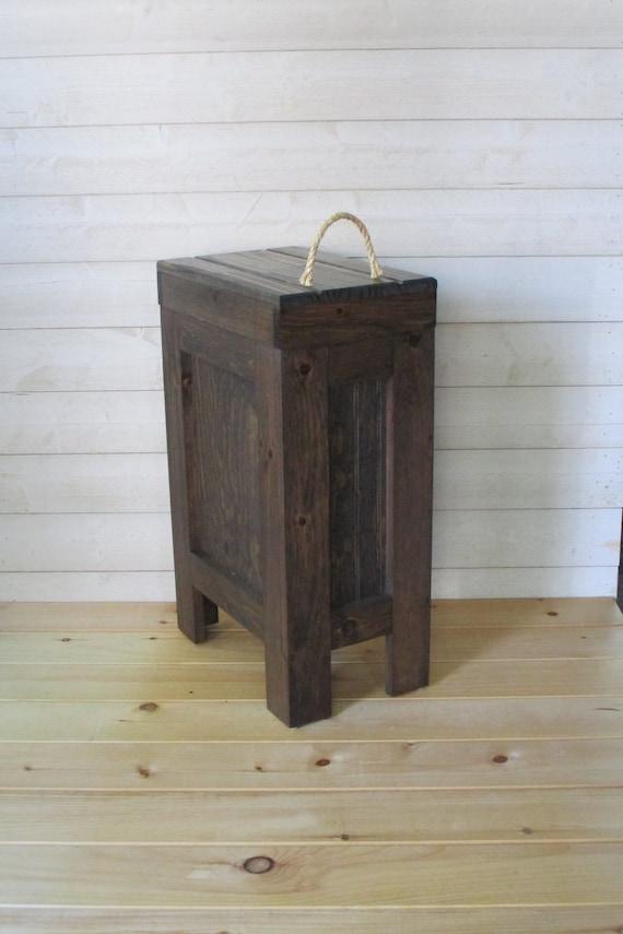 kitchen trash bin aid hand blender wood garbage can rustic etsy image 0