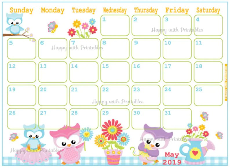 Calendar May 2019 Cute Spring Planner Printable Cute | Etsy