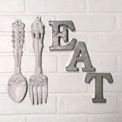 Kitchen Wall Hangings Backslash For Art Etsy Decor Eat Sign Farmhouse Fork And Spoon Rustic Hanging