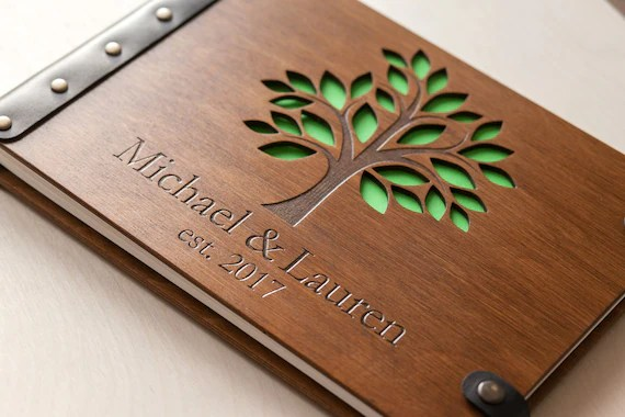 Family Tree Wedding Guest Book Wooden Guest Book Tree Of