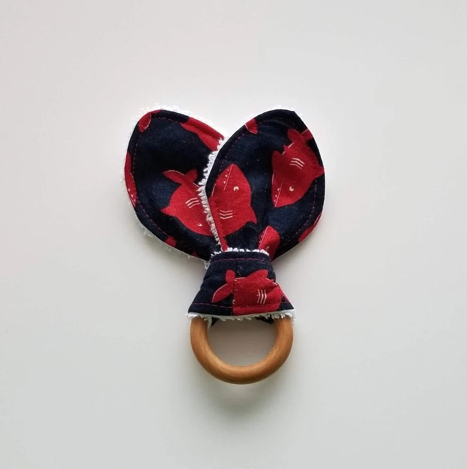 sharks teething ring/ red and blue swimming sharks teether/ image 5