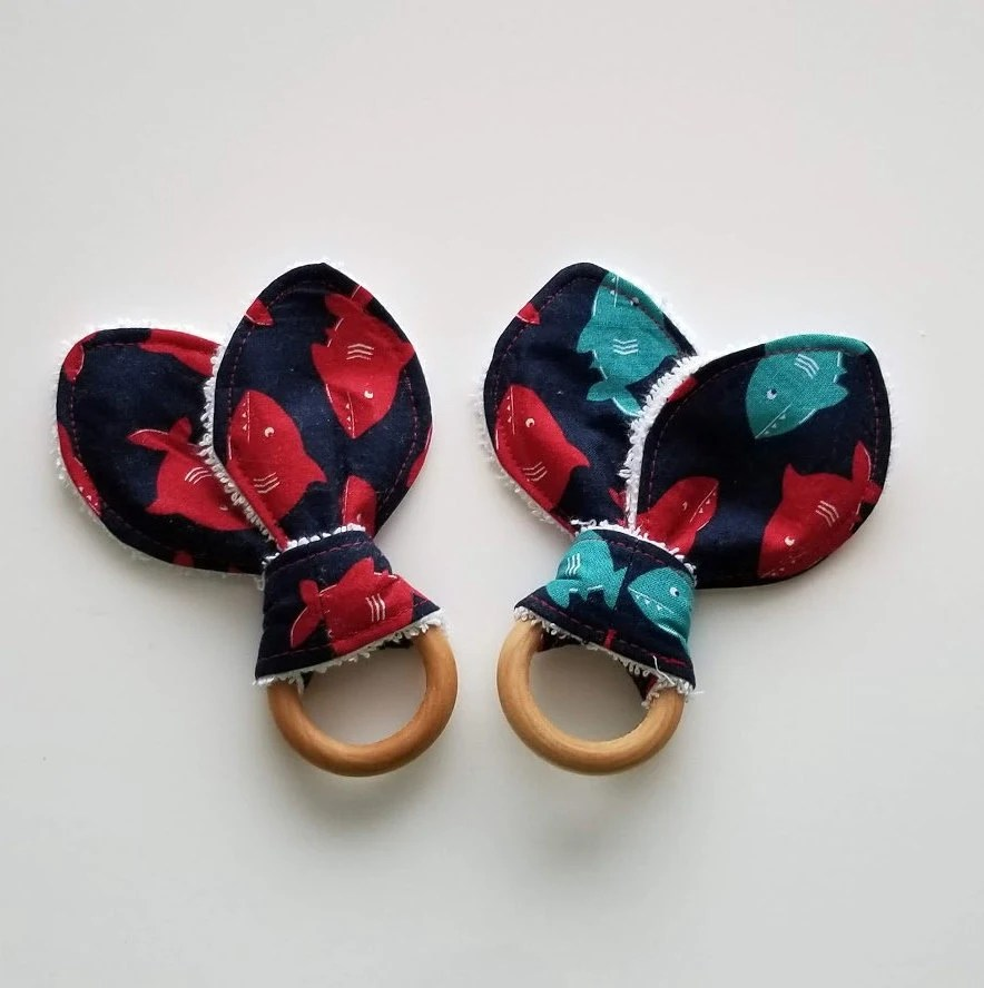 sharks teething ring/ red and blue swimming sharks teether/ mini teether