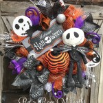 Jack Skellington Wreath Halloween Wreath Halloween Mesh Wreath Halloween Swag Nightmare Before Christmas Wreath