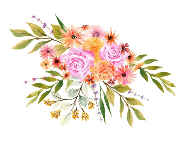 watercolor autumn flowers bouquet