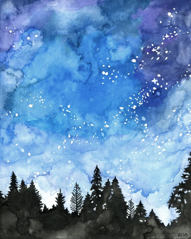 watercolor painting galaxy painting