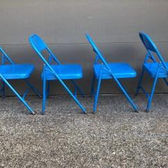 Blue Metal Folding Chairs Vladimir Kagan Chair Etsy Set Of 4 Vintage 1970s