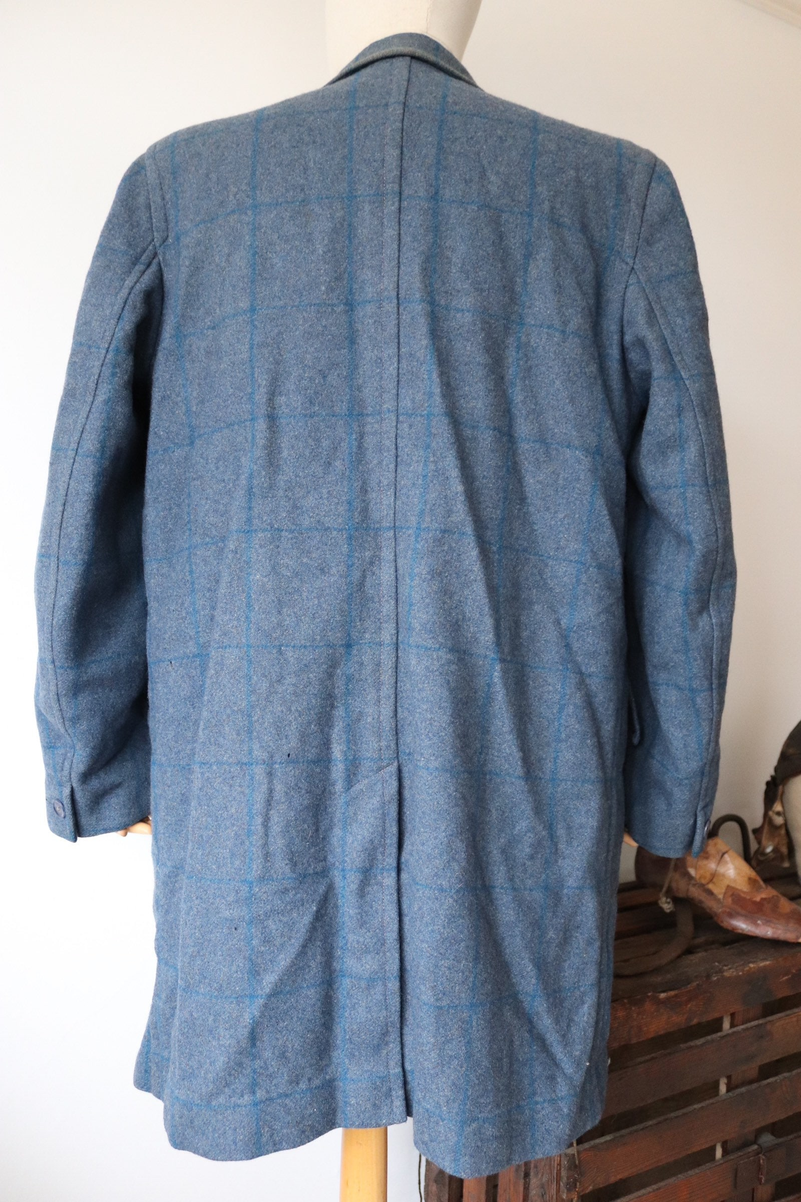 Vintage S 40s Cc41 Ww2 Blue Checked Wool Coat Overcoat