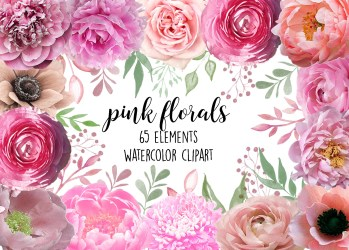 pink clip watercolor flower pretty clipart floral etsy light