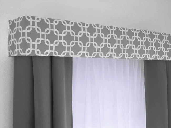 custom cornice board valance box window treatment custom curtain topper in modern grey and white fabric