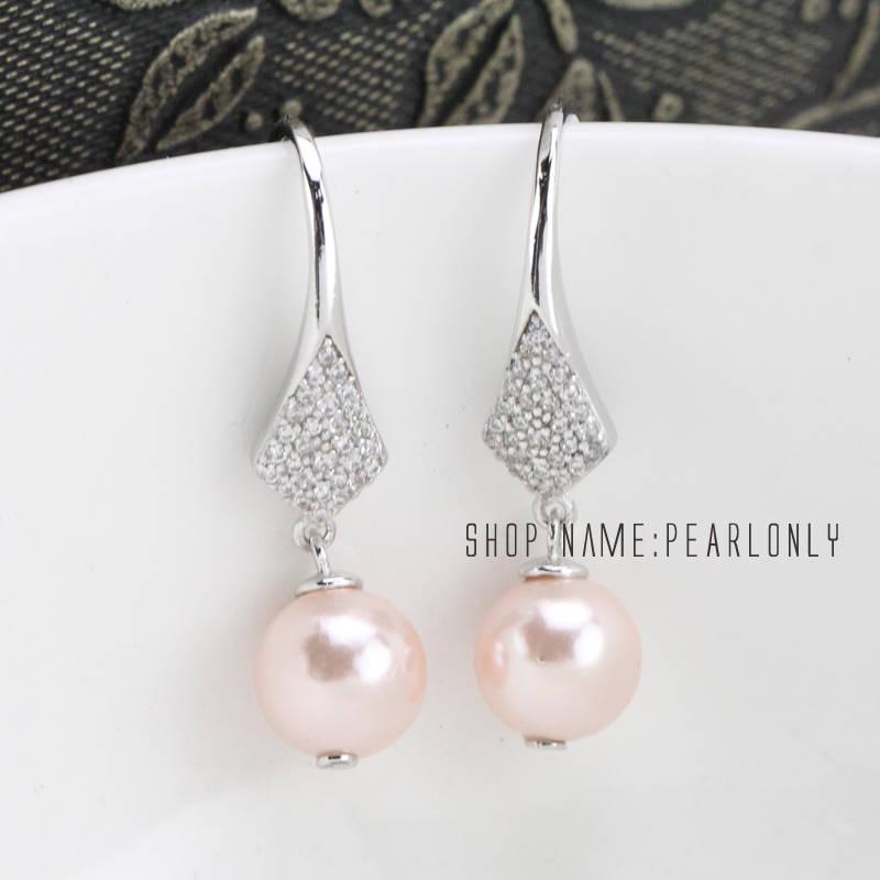 Pale pink pearl earrings dangleivory pearl earringsbridal
