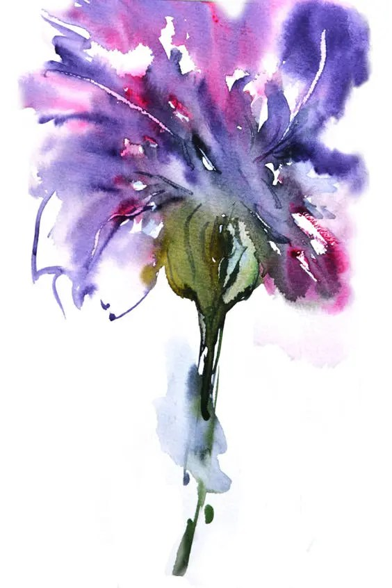 abstract watercolor flower print