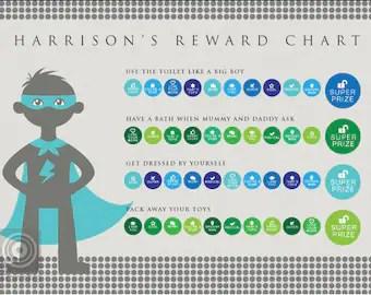 Personalised superhero reward chart instant download kids charts tomfo editable pdf chore printable daily chores also mermaid etsy rh