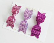 pink glitter fabric double bow