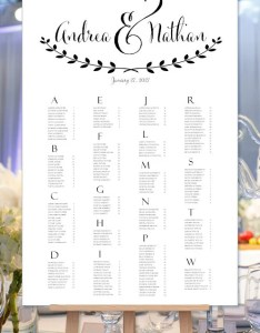 Wedding seating chart poster andrea black  white plan rush digital file alphabetical order portrait also etsy rh