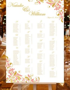Image also coral  gold kaitlyn wedding seating chart etsy rh
