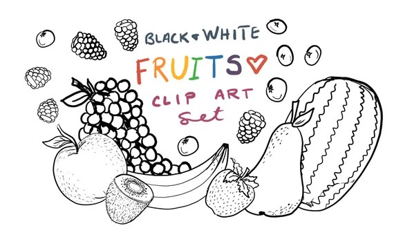 Black And White Fruit Clip Art Hand Drawn Fruit Clipart Etsy