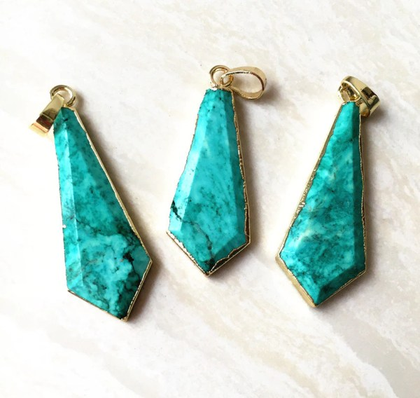 Natural Blue Turquoise Arrowhead Pendant Gold