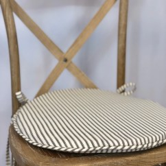 Grey Chair Cushions Rolling Parts Round Cushion Etsy Ticking Fabric Rustic Tie Back Shabby Chic Replacement Pad