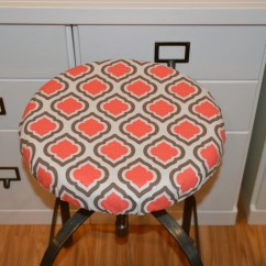 Chair And Stool Covers Hanging With Stand Round Barstool Cover Elasticized Seat Counter Etsy Cushion Coral Brown Washable Cotton Fabric Kitchen Pad
