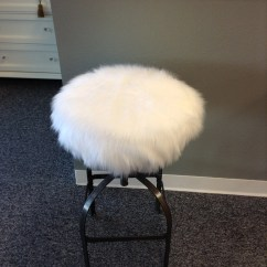 Vanity Chair White Fur Parson Slipcover Stool Etsy Faux Luxury Shag Round Barstool Cover Kitchen Counter Seat Removable