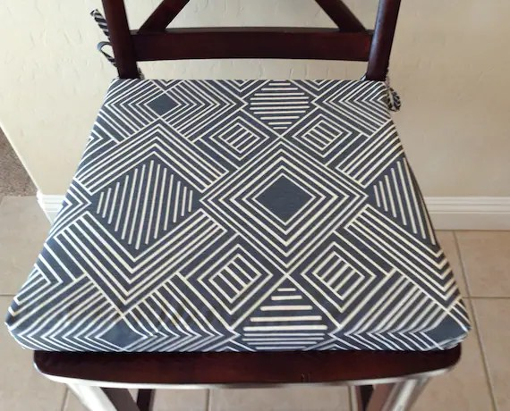 kitchen cushion covers cabinets brands geometric print seat cover chair pad etsy image 0