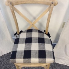 Chair Pads Kitchen Clear Plastic Desk Cushions With Rounded Back And Ties Buffalo Check Black Etsy Image 0