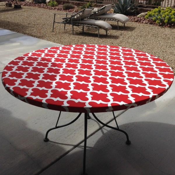 Outdoor Round Fitted Vinyl Tablecloths Elastic