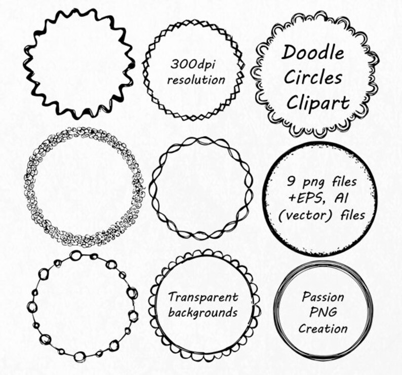 doodle circle clipart hand