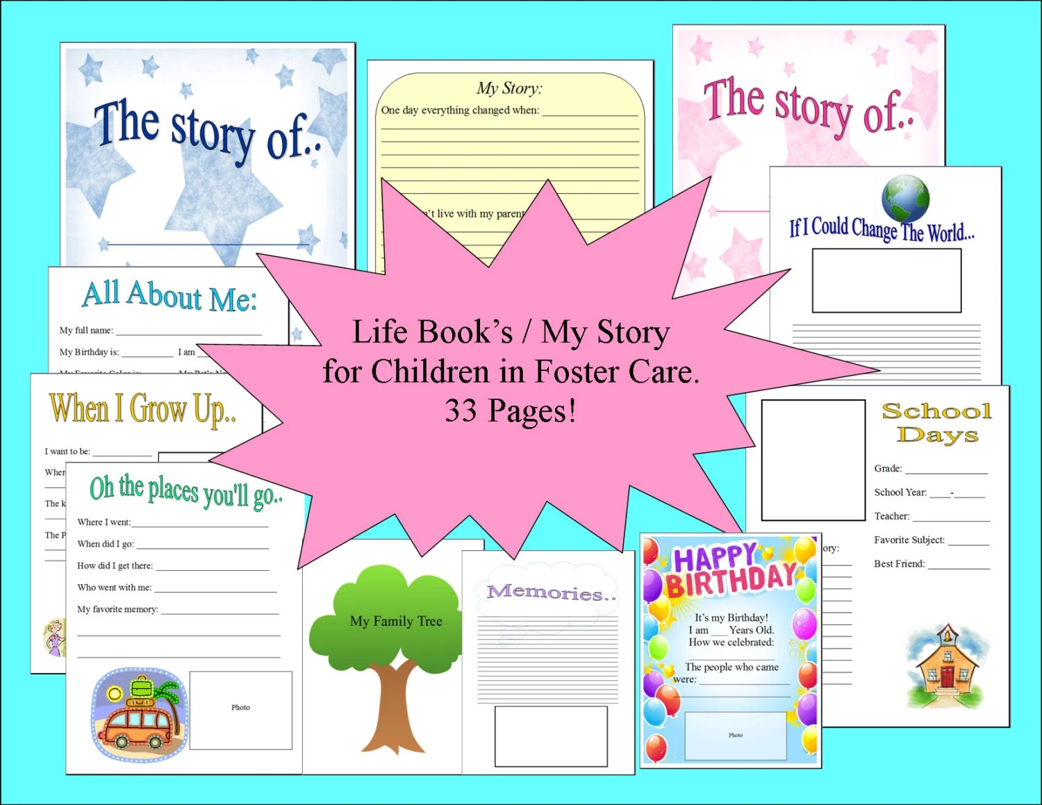 33 Page Foster Care Life Book My Story Book Printable