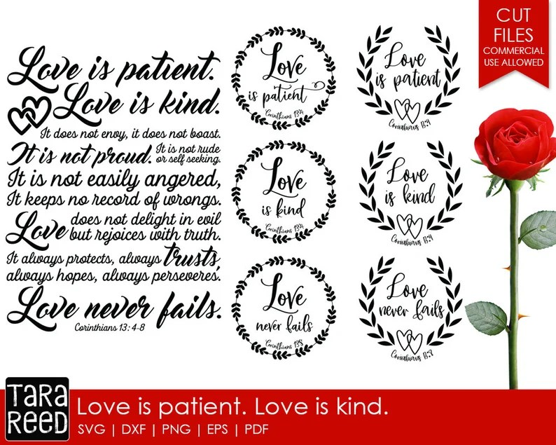 Download Love is Patient Love is Kind Bible Verse SVG and Cut Files ...