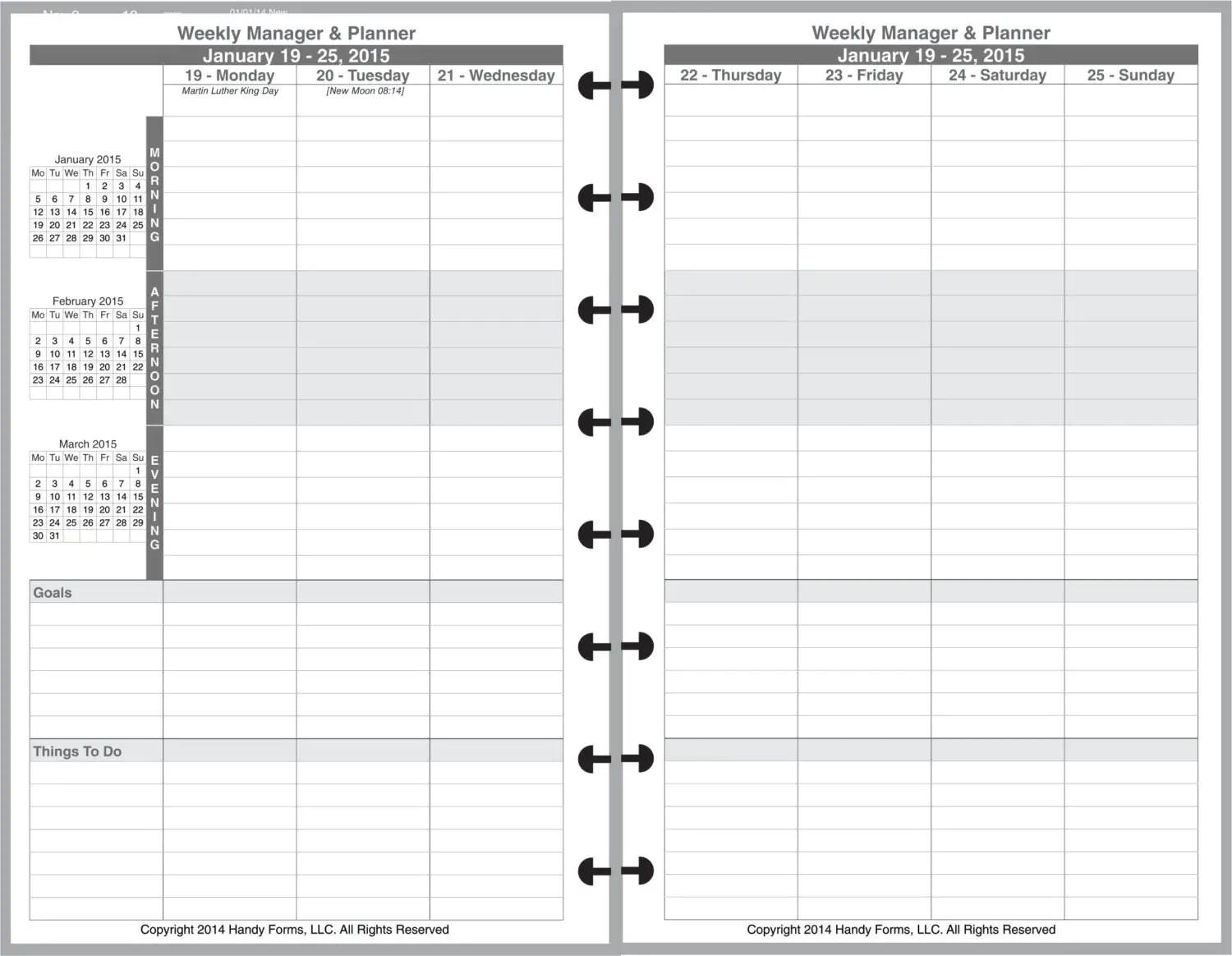 Weekly Manager Planner Organizer 2 Page Per Week 5 1 2 X 8