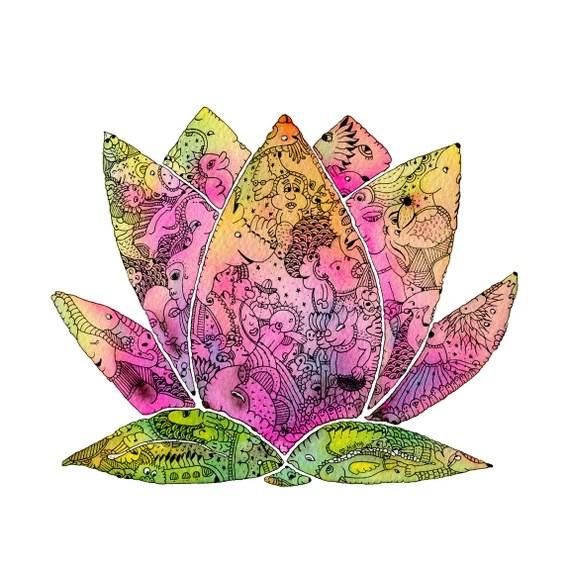 Lotus Flower Mandala Signed Print Zen Home India Etsy