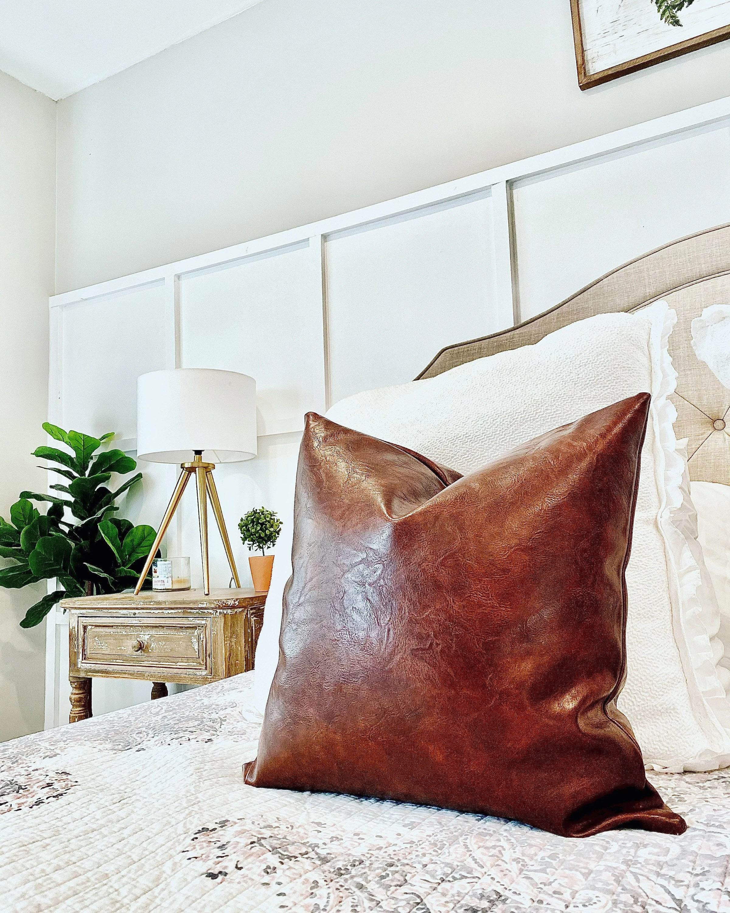 tan leather pillow etsy