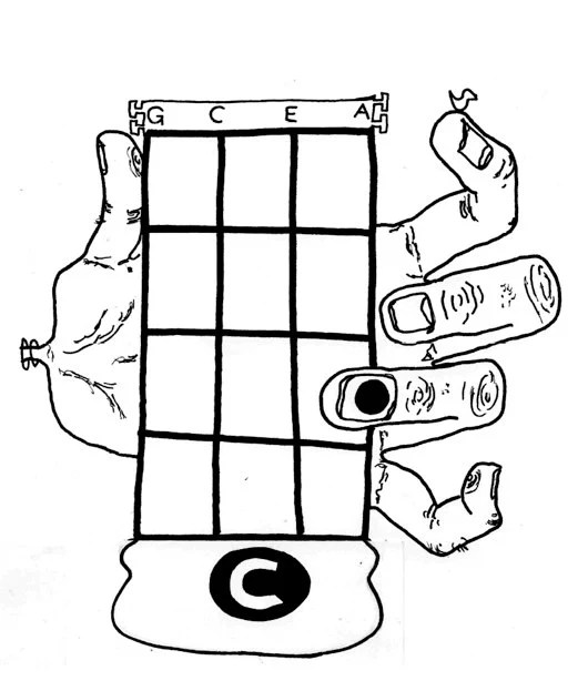 PDF Uke Coloring Book: 16 Basic Ukulele Chords Monster