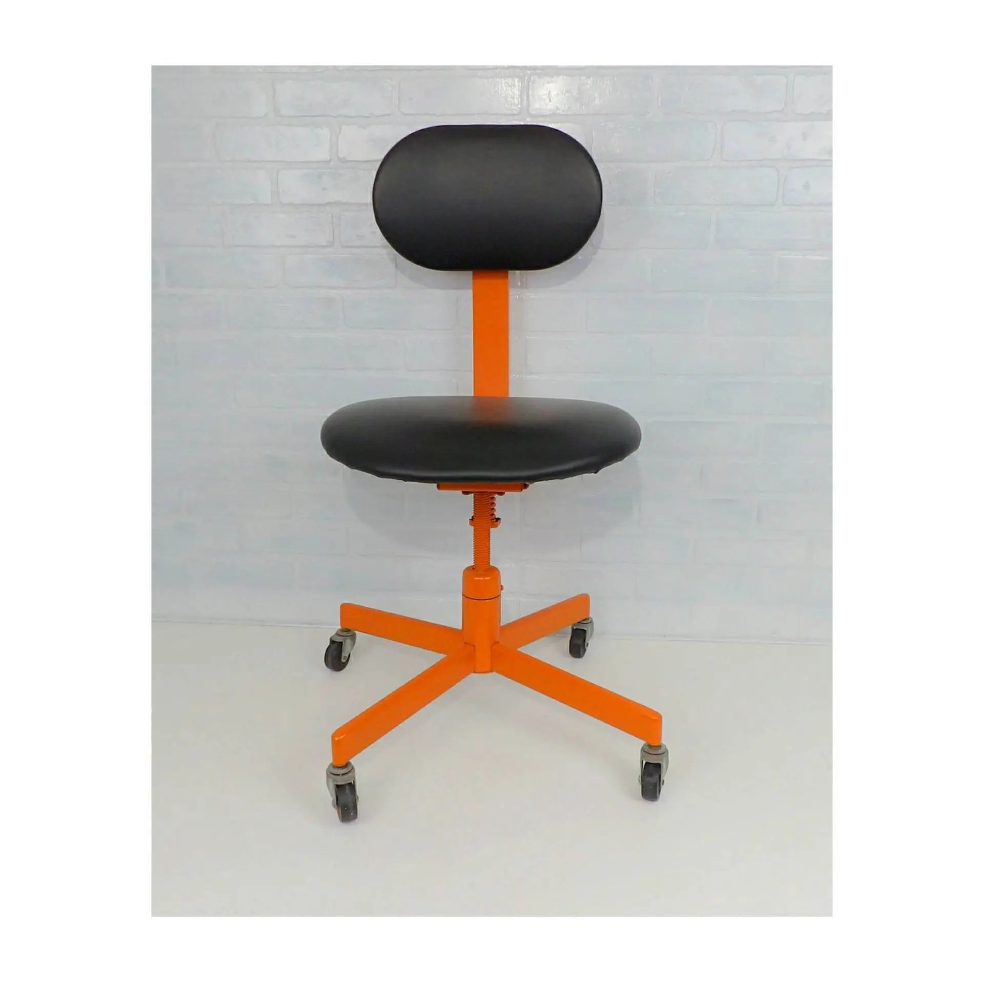 Orange Office Chairs Office Chair Orange Black Mid Century Modern Vintage Dental Tattoo Salon Doctor Adjustable Tanker Desk Mechanical Age Industrial Rolling