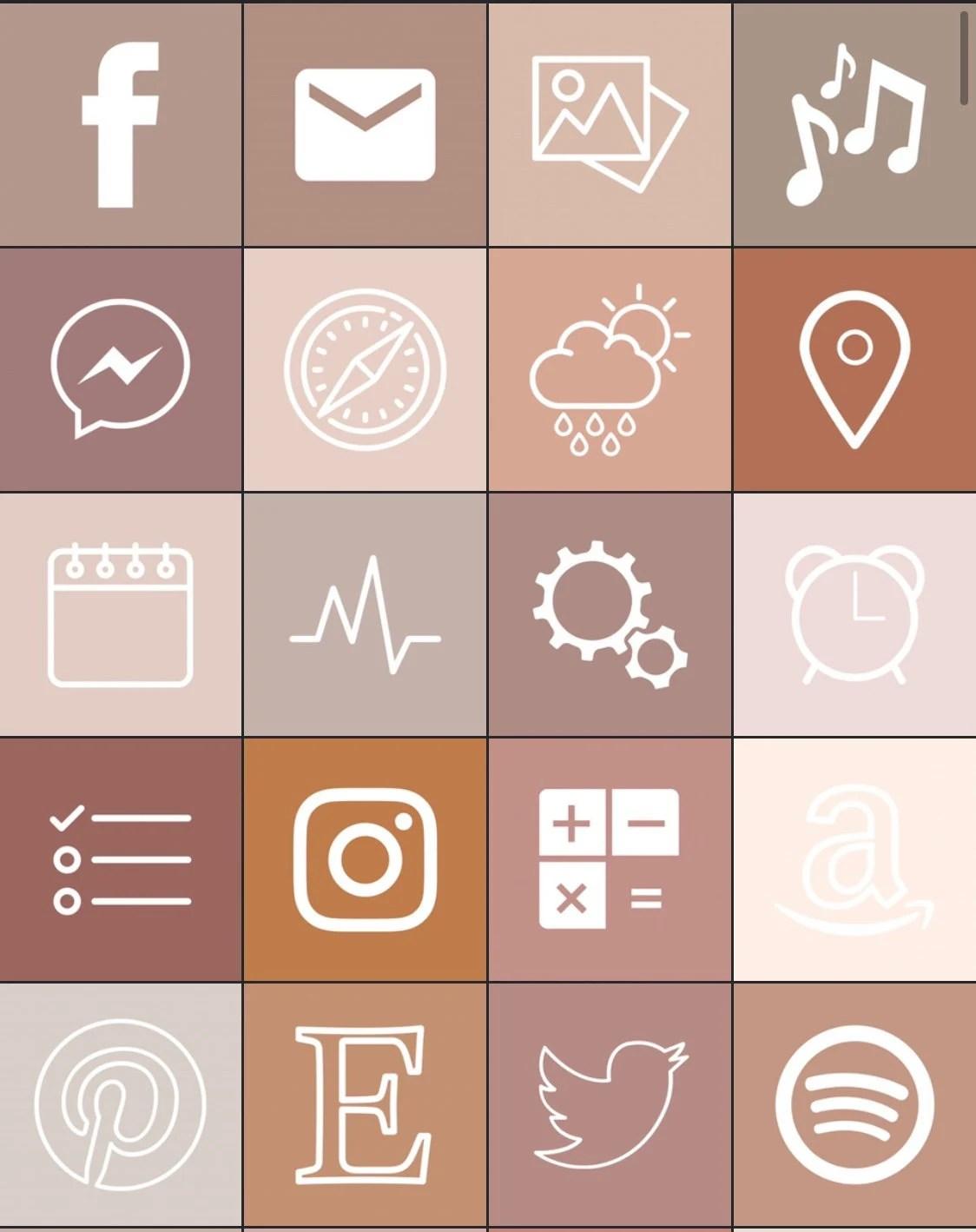 660 soft forrest sage earthy neutral aesthetic app icons. 34 Boho Aesthetic iOS 14 iPhone App Icons Neutral Boho ...