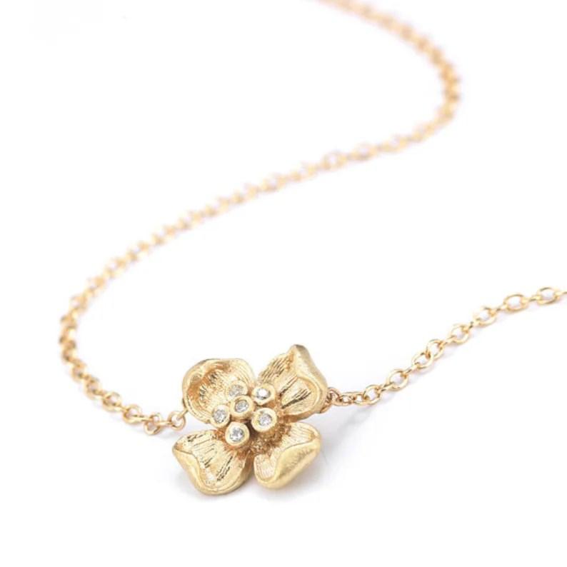 gold flower necklace diamond