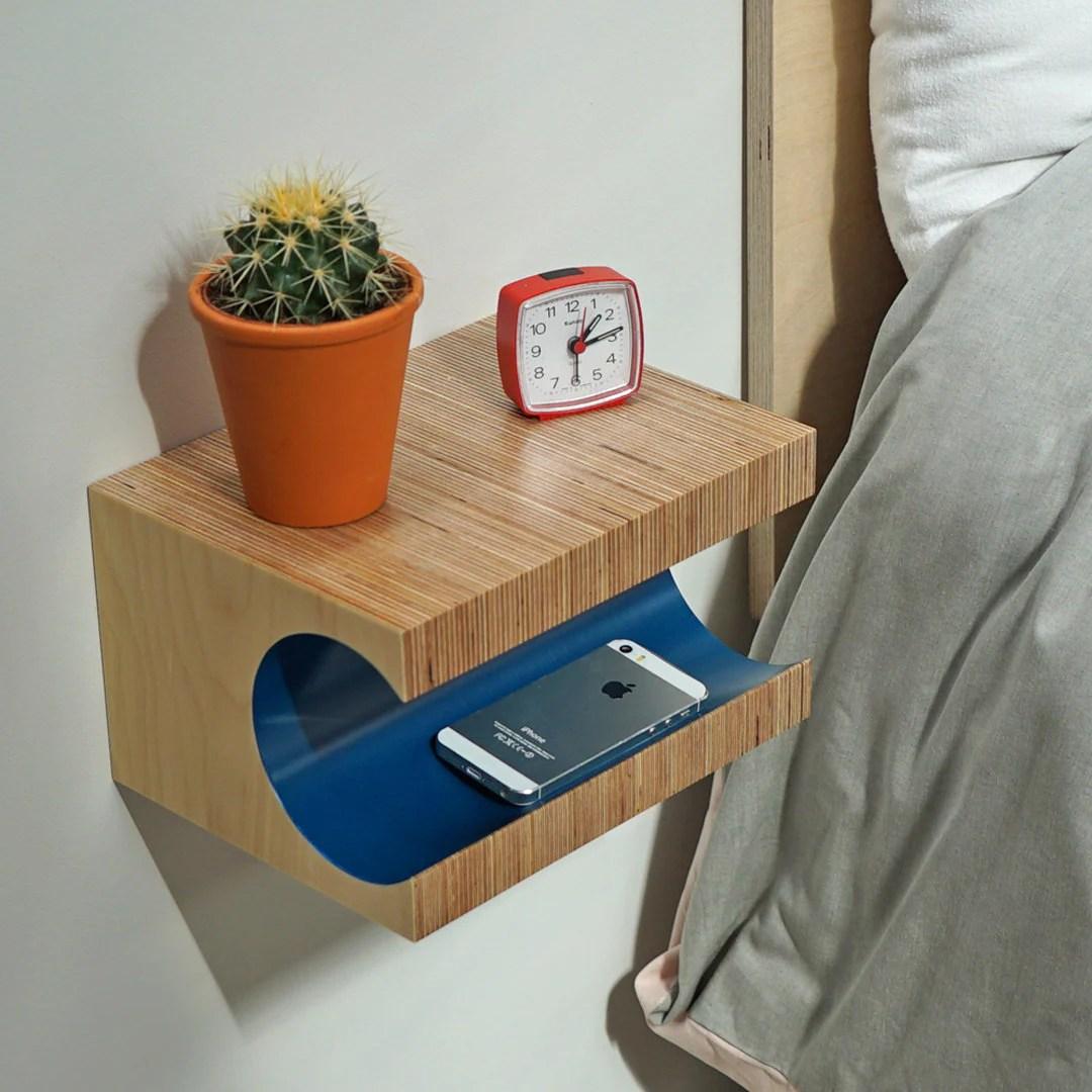 Teal Floating Nightstand Floating Shelf Bedside Table Nightstand Scandinavian Modern Nightstand Birch Plywood Shelf